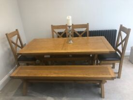 Solid Wood Dining Table, 4 Chairs and Bench