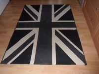 Black and Cream union jack rug
