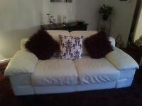 Leather Sofa, Chair & Pouffe