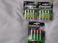 3 packsAA rechargeable batteries,2x energizer accu recharge power plus 1x duracell
