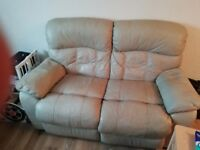 Leather sofa 3 seater and 2 seater ,with recliner in built