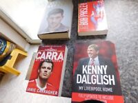 4 GOOD QUALITY LIVERPOOL FC BOOKS PLUS A LIONEL MESSI LIFE STORY