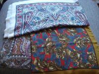 3 vintage paisley print ladies scarves, various colours