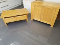 Solid oak side board and coffee table. Excellent condition.