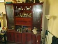 Large glass sideboard cabinet