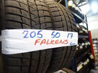 MATCHING PAIR 205 50 17 FALKEN WINTER TYRES 6mm TREAD £70 PAIR SUP& fitd 7dys opn sun 4pm loads more