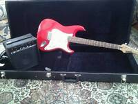 Marlin electric quitar with case and 10w amp
