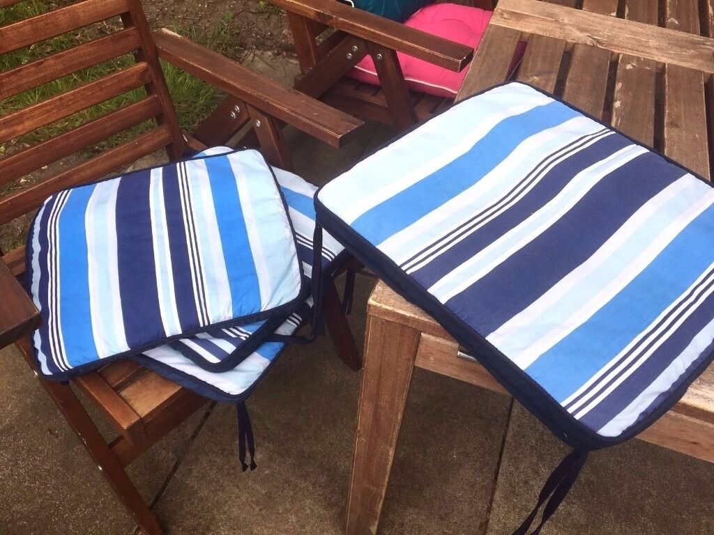 Awesome Ikea Garden Outdoor Seat Pads Cushion Navy Stripy X 4 Set In Ibusinesslaw Wood Chair Design Ideas Ibusinesslaworg