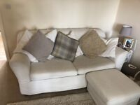 Sofa for sale! Comes with built in double bed, cushions and matching pouffe.