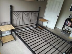 Metal Double Bed Frame with Matching Side Tables (mattress not included)