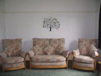 Ercol Renaissance 3 piece suite with light ash frames.
