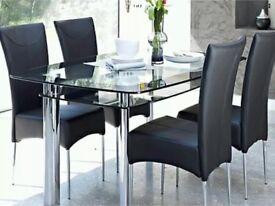 Harvey's Black Glass Dining Table
