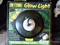 exo/terra glow light. porcelain clamp lamp.large
