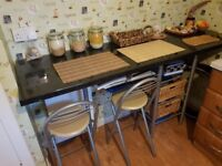 Kitchen unit,corner unit with 2 fold strong chairs