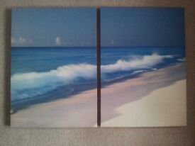 several canvas pictures. beach scene on 2 canvas, French cafe, Lily-see pictures