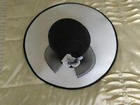 Wedding Hat Black Crown white brim .