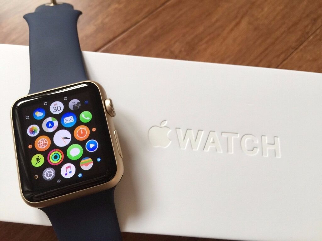 Apple Watch SportGold Case and Midnight Blue Strapin Darlington, County DurhamGumtree - Apple Watch Sport Gold Case and Midnight Blue Strap for sale. Comes with all of the original boxing, chargers and wires. Hardly used so in perfect condition. This Apple Watch is made from 7000 Series Gold Aluminium and has an Ion X Glass Retina...