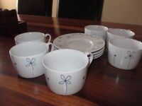 Sabichi Fine China Tea Cups & Saucers. There are 6 tea cups, but only 4 saucers. £12.00 the lot