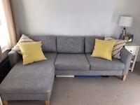 Ikea Karlstad 3 Seater Sofa with Chaise Isunda Grey