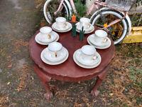 Porcelain lustre part tea set M Z Czechoslovakia. Vintage lustre ware in Mother of Pearl cups set