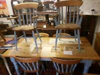 Pine farmhouses table and chairs
