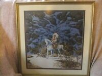 FRAMED PRINT OF A NATIVE AMERICAN CHEIF CALLED EAGLE HEART BY ARTIST BEV DOLITTLE IN GOOD CONDITION