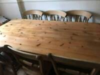 Large farmhouse table and chairs
