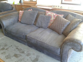 Large fabric and suede 2 seater sofa with armchair