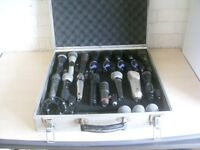 Sound engineers professional 16 item microphone kit complete with expensive flightcase.