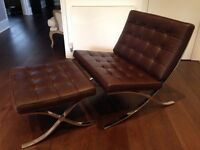 Brown leather and chrome Barcelona chair and footstool