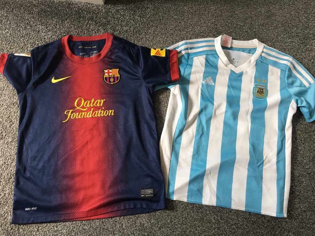 181fa3063 2 x football strip shirts Argentina Barcelona age 8-10   in Southside ...