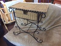 wicker and ironwork side unit with draw