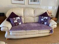 Cream Leather Sofa - 2 and 3 seater set