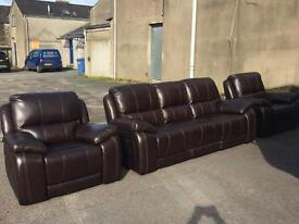 Ex-display** Tip quality genuine leather 3+1+1 fully reclining suite - CALL TODAY!!!