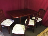 DARK WOOD DINING TABLE WITH 4 CHAIRS,CAN DELIVER