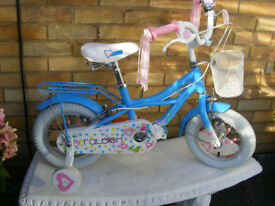 "RALEIGH GIRLS 12"" WHEEL BIKE WITH STABILISERS HARDLY USED AGE 3+ NO RUST"