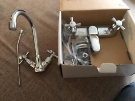 Crystal chrome basin mixer and bath filler taps