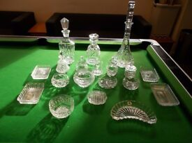 Selection of cut glass including 3 decanters