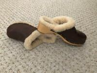 Brown Leather UGG Clogs