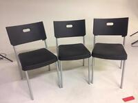 Chairs x3 Ikea plastic and metal black and silver matt