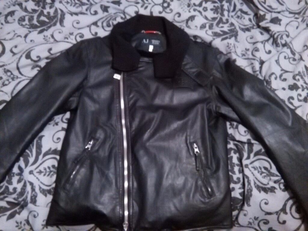 Original Armani Jacket Black Leather (will sell to best Offer)