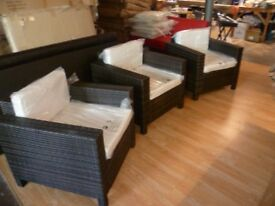 Rattan Garden Furniture 3 Seater Chairs - Free Local Delivery