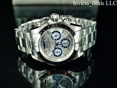 Invicta Men's 40mm SPEEDWAY DRAGSTER Chrono Silver/Blue Dial Silver Tone Watch