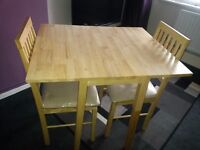 Solid Wood Drop Leaf Table & 2 Chairs - Natural