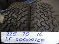 matching pair of 225 70 16 BF GOODRIDGE 6mm tread £70 FOR PAIR SUPP AND FITD opn 7dys