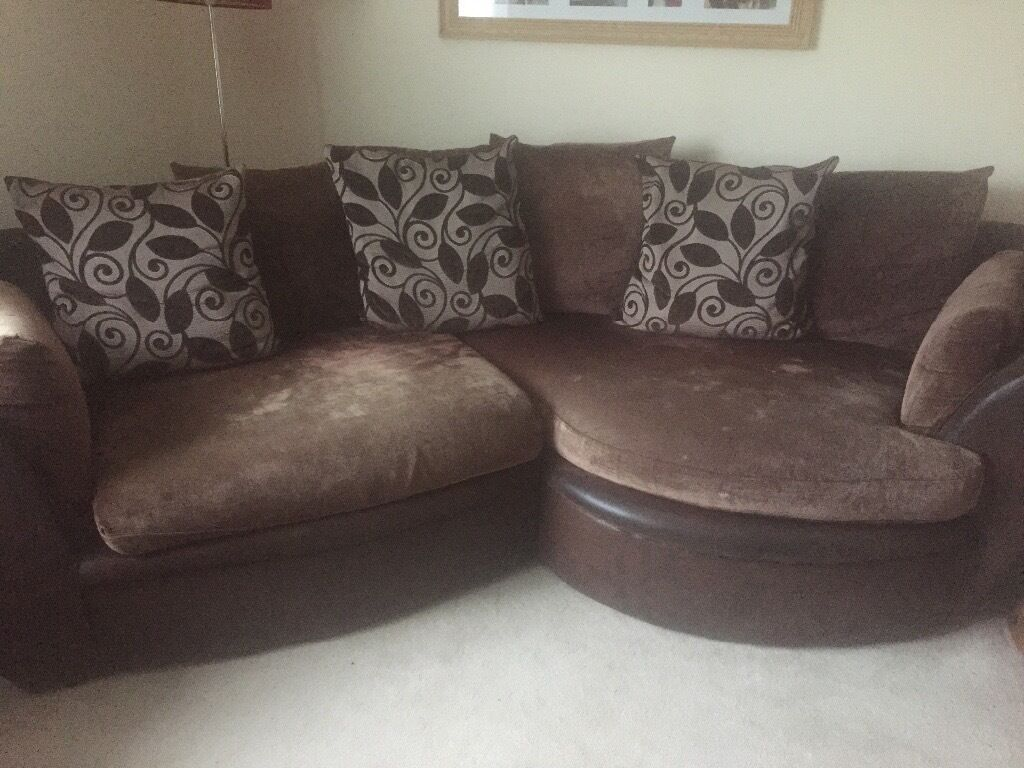 Leather chair and a half - Brown Corner Sofa And Swivel Chair Half Leather Half Fabric