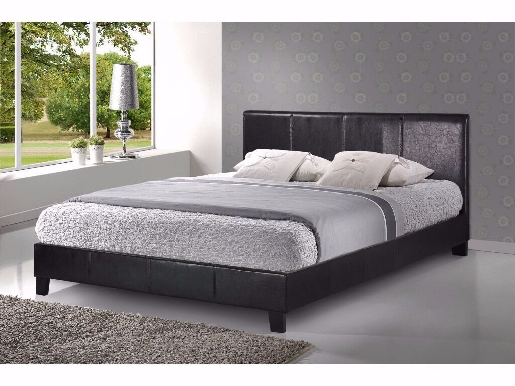NEW DEAL BRAND NEW SMALL DOUBLE/DOUBLE LEATHER BED + MATTRESS £119 ...