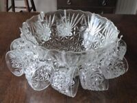 Vintage Punch bowl with 11 glasses