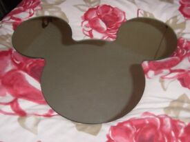 """Childrens Mickey Mouse Heavy Wall Mirror Approx 23"""" Wide"""