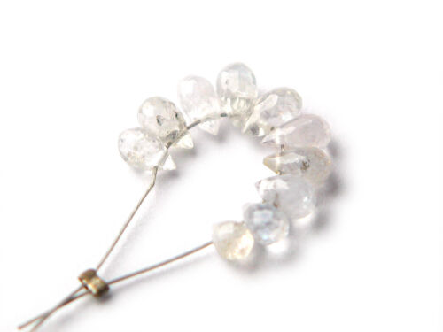 Genuine Natural White Songea Sapphire Gemstones Faceted Drop Beads 10x Stones